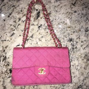 Chanel fuchsia double flap bag with gold hardware